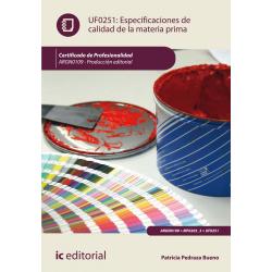 Especificaciones de calidad de la materia prima UF0251